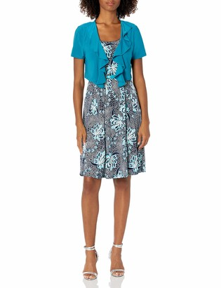 R & M Richards R&M Richards Women's 2 PCE Missy Ruffle Jacket and Dress Teal 12