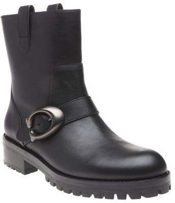 Coach New Womens Black Leighton Leather Boots Ankle Buckle Pull On