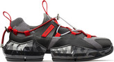 Jimmy Choo DIAMOND TRAIL/M Black Stretch Mesh Diamond Trail Trainers with Red Leather Detailing