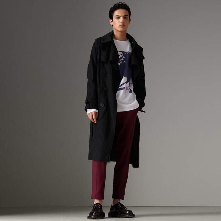 Burberry Detachable Hood Cotton Trench Coat , Size: 46