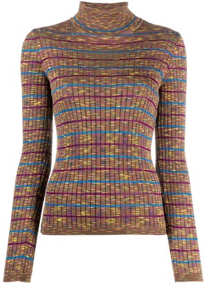 M Missoni Striped Ribbed-Knit Jumper