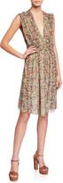 Isabel Marant Floral Silk Sleeveless Deep V-neck Dress
