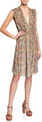 Isabel Marant Floral Silk Sleeveless Deep V-neck Dress