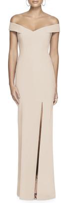Dessy Collection Off-the-Shoulder Short-Sleeve Column Gown w/ Slit