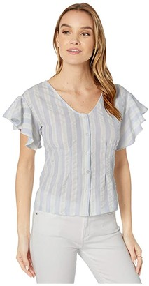 Cupcakes And Cashmere Brentwood Striped Ruffle Sleeve Dolman Blouse (Blue Fog) Women's Clothing