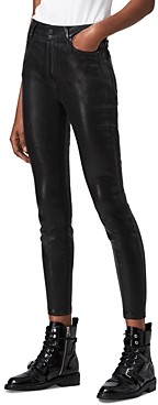 AllSaints Alex Coated Ankle Skinny Jeans in Black