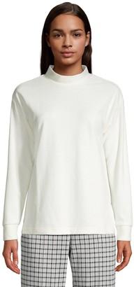Lands' End Petite Sport Velour Mockneck Sweatshirt