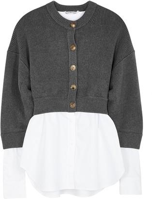 Alexander Wang Grey layered cotton-blend cardigan