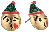 Betsey Johnson Elf Emoji Stud Earrings (Green) Earring