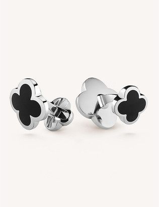 Van Cleef & Arpels Mens White Gold Alhambra And Onyx Cufflinks