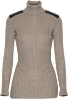 Autumn Cashmere Leather-paneled ribbed cashmere turtleneck sweater