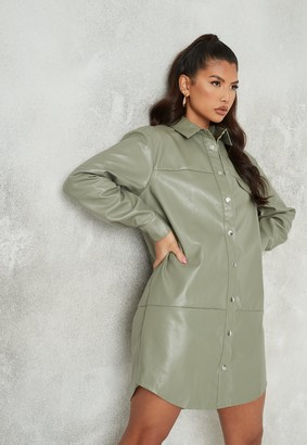 Missguided Green Faux Leather Oversized Panel Shirt Dress