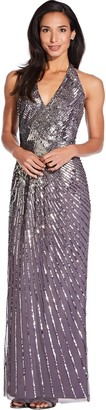 Adrianna Papell Moonscape Beaded Halter Maxi Dress