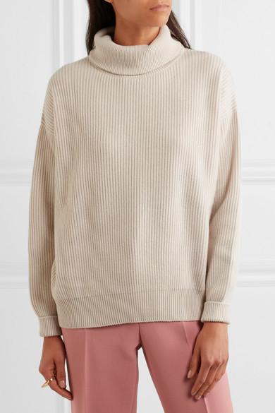 Brunello Cucinelli Satin-trimmed Ribbed Cashmere Turtleneck Sweater - Beige