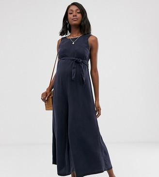 Asos DESIGN Maternity soft denim belted wide leg jumpsuit-Blue