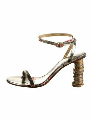 Vetements Printed Patent Leather Sandals Gold
