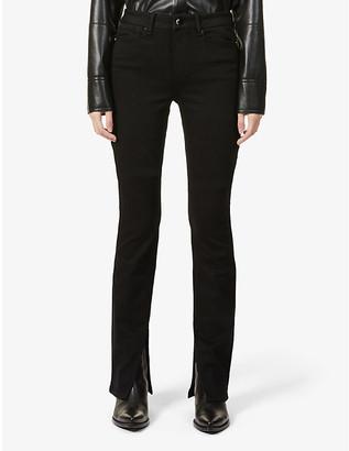 Paige Ladies Black Cotton Embroidered Constance Split-Hem Skinny High-Rise Jeans, Size: 23
