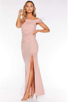 Quiz Nude Bardot Ruched Split Maxi Dress