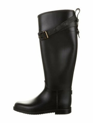 Burberry Leather Trim Embellishment Rain Boots Black