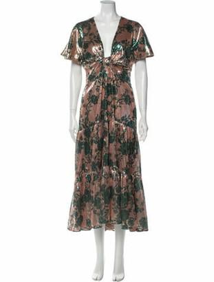Johanna Ortiz Floral Print Long Dress Brown
