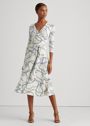 Ralph Lauren Printed Jersey Surplice Dress