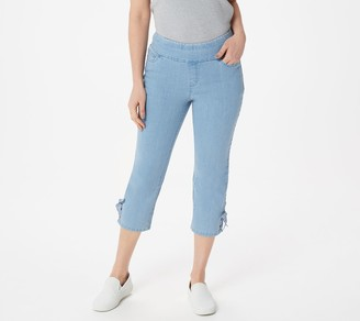 Denim & Co. Perfect Denim Smooth Waist Slim Leg Crop w Lace Up Detail