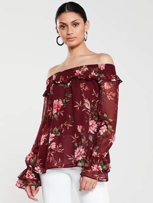 Very Shirred BardotTop - Floral Print