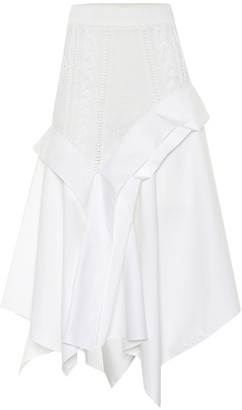 Loewe Knit and poplin midi skirt
