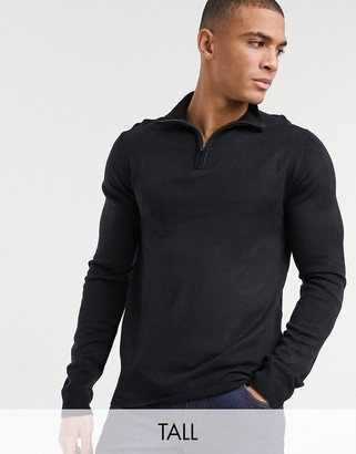 French Connection Tall soft touch half zip knit sweater in navy