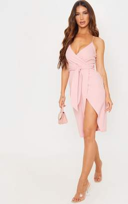 PrettyLittleThing Dusty Pink Strappy Wrap Tie Waist Midi Dress