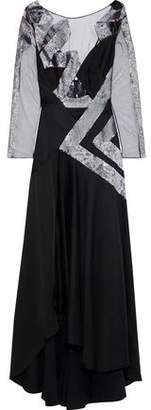 Temperley London Insignia Sequin-embellished Tulle-paneled Cutout Satin-crepe Gown