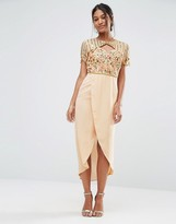 Virgos Lounge Embellished Sweetheart Midi Dress With Wrap Skirt