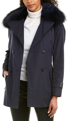 Mackage Frida-D Classic Neo Leather-Trim Trench Coat