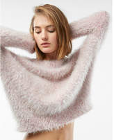 Express marled off the shoulder feather wedge sweater