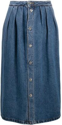 MSGM Button-Front Denim Midi-Skirt