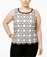 Nine West Plus Size Lace Shell