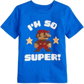 "Sonoma Goods For Life Boys 4-12 Flip Sequins Mario Bros. ""I'm So Super!"" Tee"