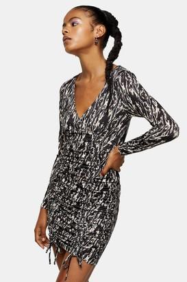 Topshop Animal Print Ruched Slinky Dress