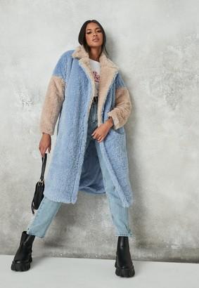 Missguided Blue Colourblock Faux Fur Coat