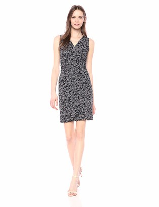 Lark & Ro Women's Sleeveless V-neck Gathered Faux Wrap Dress