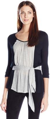 Three Dots Women's Color Block Tie Blouse