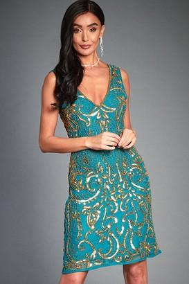 Jywal London Angie Green Embellished Mini Flapper Dress
