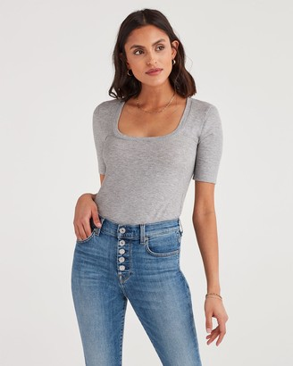 7 For All Mankind Ribbed Scoop Neck Tee in Heather Grey