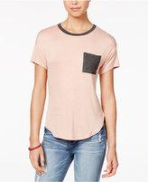 Belle Du Jour Juniors' Contrast Pocket Ringer T-Shirt
