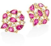 Temple St. Clair Pear Cluster Diamond, Ruby Sapphire & 18K Yellow Gold Stud Earrings