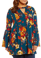 Blu Pepper Plus Floral Print Key Hole Bell Sleeve Tunic