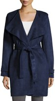 Via Spiga Faux-Suede Belted Trench, Navy