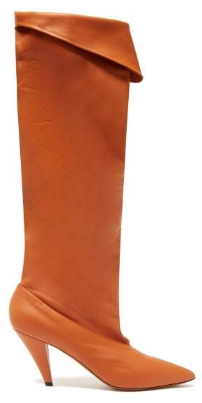 Givenchy Slouchy Knee High Leather Boots - Womens - Light Tan