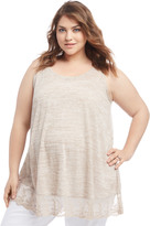 Motherhood Plus Size Lace Trim Maternity Tank Top
