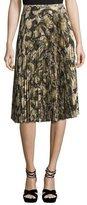 Haute Hippie Sunburst Flare Pleated Paisley Midi Skirt, Camo